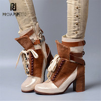 Prova Perfetto Horsehair Women Ankle Boots Lace Up Chunky High Heel Boots Female Autumn Winter High