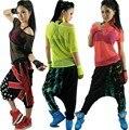 Оптовая продажа новинка выдалбливают хип-хоп женщины топы девушкой костюмы для выступлений неон сексуальная танец футболки