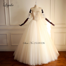 2019 Liyuke Vintage Marvelous Tulle A Line Wedding Dress With Lot Of Gold Beaded Crystal