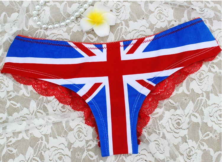 530c62f49b Victoria Sexy Underwear VS Girls Cute Lace Cotton Union Jack Printing Briefs  Panties