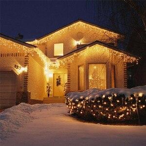 Image 5 - Weihnachten Lichter Outdoor Dekoration 5m Droop 0,4 0,6 m Led Vorhang Eiszapfen Lichterketten Garten Xmas Party Dekorative lichter