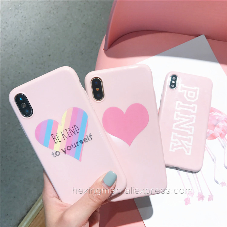 Pink Letter be kind to yourself Phone Cases For iPhone X Case For iPhone 7 6 8 Plus X Girl Style Soft TPU Smooth Back Cover Capa