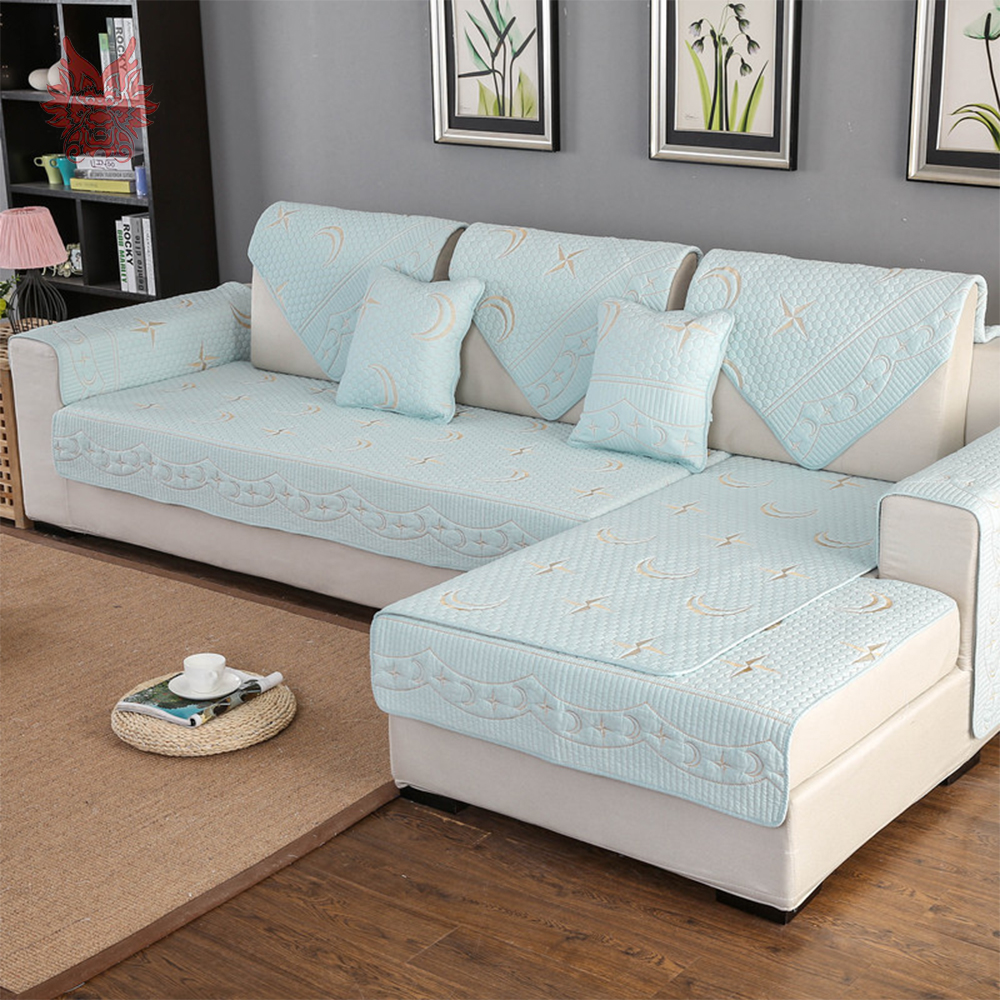 Star Moon Embroidery Quilted Cotton Sectional Sofa Cover