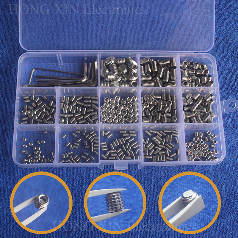 510Pcs M3 M4 M5 M6 M8 304 Stainless Steel Metric Thread Grub Screws Flat Point Hexagon Socket Set Screws Headless For Home Tools 20pcs m3 m12 screw thread metric plugs taps tap wrench die wrench set