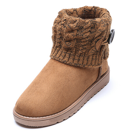 1f60a956cdac5 Invierno mujer kniiting botines para mujeres calientes punta redonda  exterior cortos planos del talón botines de nieve Ladies 2015 recién  llegado de en ...