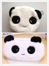 Kawaii Panda NOVO 20 CM Plush Coin Saco Da Bolsa, 10 CM Fluffy Panda Keychain Coin Purse BAG Bolsa Carteira Caso(China)