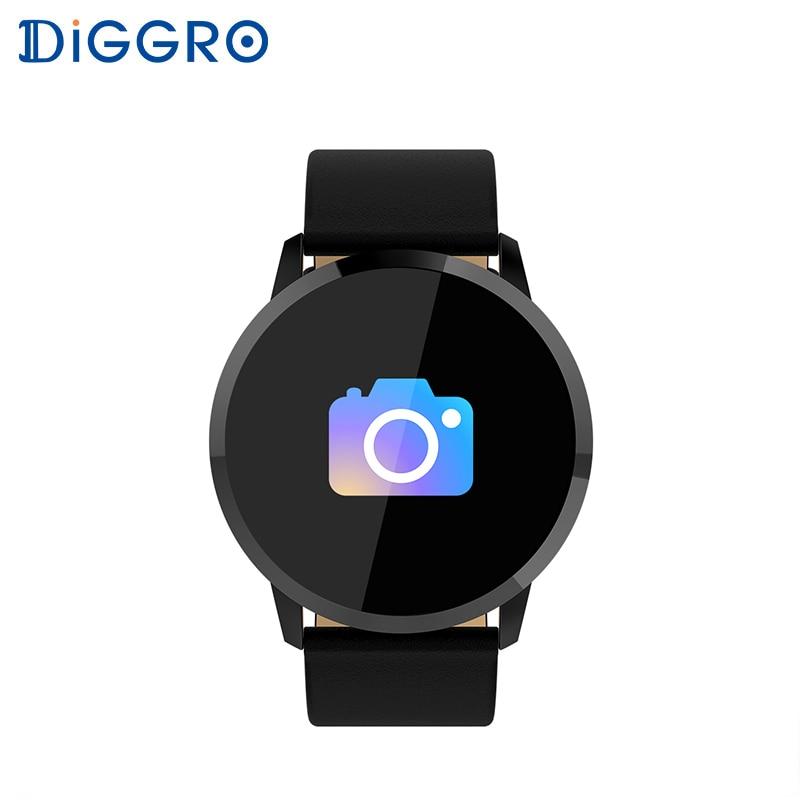 Diggro Q8 impermeable OLED Bluetooth inteligente reloj de acero inoxidable de Dispositivo portátil inteligente reloj de pulsera de las mujeres de los hombres rastreador