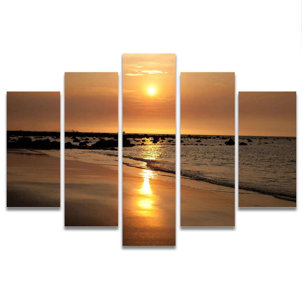 Unframed Canvas Painting Sunset Beach Waves Photo Picture Prints Wall Picture For Living Room Wall Art Decoration