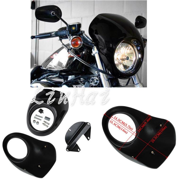 Front Visor Head Light Mask Fairing Bright black Cafe Racer Drage Fit for Harley Sportster