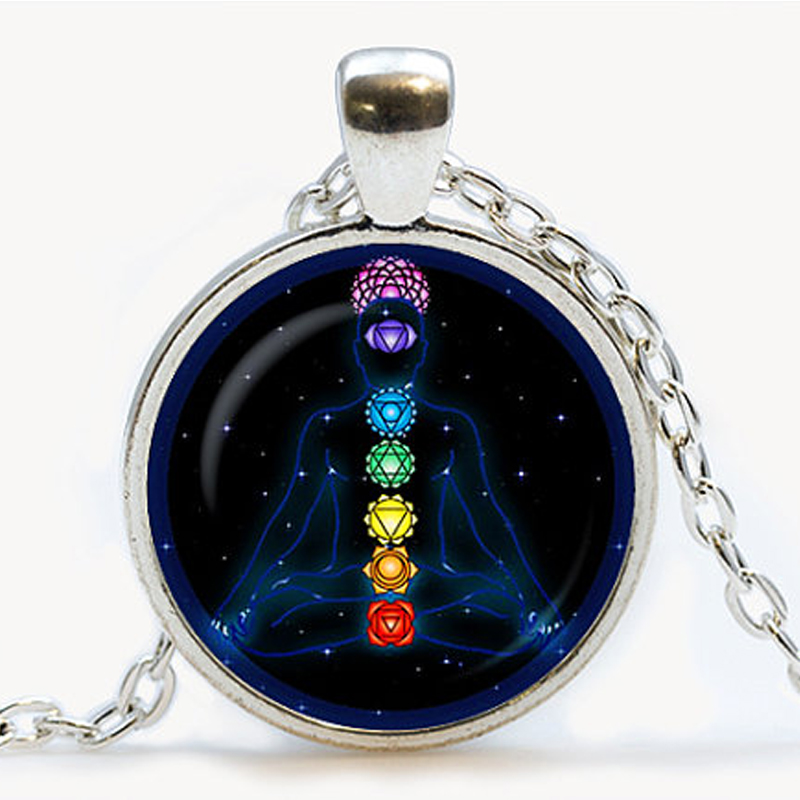 Chakra symbols pendant om spiritual necklace yoga jewelry for Zen culture jewelry reviews