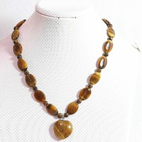 Fashion Tiger Stone 13x18mm Oval Beads With 6mm Round Beads 25mm Heart Pendant Diy Necklace 18