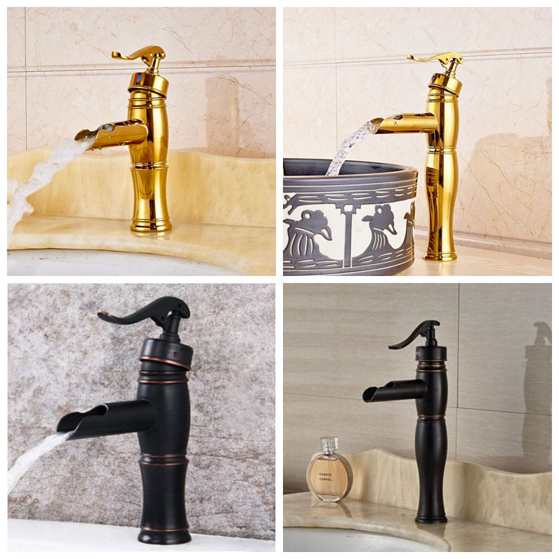Luxury Brass Gold Finish Basin Faucet Bath Vanity Sink Tap Deck Mount One Hole Mixer Tap deck mount chrome finish basin faucet bath vanity sink tap waterfall spout mixer faucet one hole tap