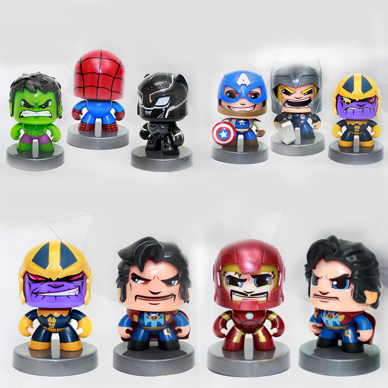 цена на Marvel Legends Action Figure Spiderman Hulk Captain America Change Face Toy PVC Collection Model Funny Toys for Kids Gifts