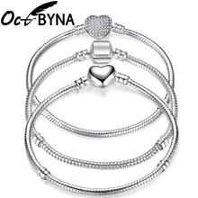 Octbyna Fashion Silver Plated Heart-Shaped Snake Chain Charm Bracelet For Women Brand Bracelet&Bangle DIY Jewelry Making Gift недорого