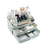 Plastic Makeup Organizers Cosmetic Jewelry Box Brush Lipstick Holder 2 Drawers Desk Storage Case Bathroom Home Accessories Stuff