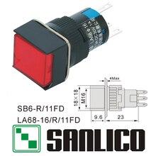 Interruptor de botão quadrado iluminado xb6ecw4j2p xb6ecw3b1p la68 las1 lay16 sb6r/11fd retorno momentâneo da mola 16mm