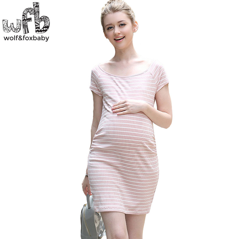 Retail Pregnant women dress Large size Short-sleeve stripe O-Neck Slim Fit fashion skirt summer