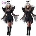 Темный Ангел Костюм для Женщин Необычные Платья Черный Ангел С Крыла Партии Cosplay Платье