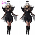 Dark Angel Costume for Women Fancy Dress Black Angel With Wing Party Cosplay Dress
