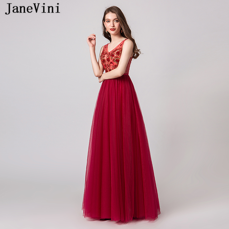 JaneVini Elegant A Line Long Red   Prom     Dresses   2019 V Neck Sleeveless Beaded Tulle Plus Size   Prom   Party Gowns Gala Jurken Dames
