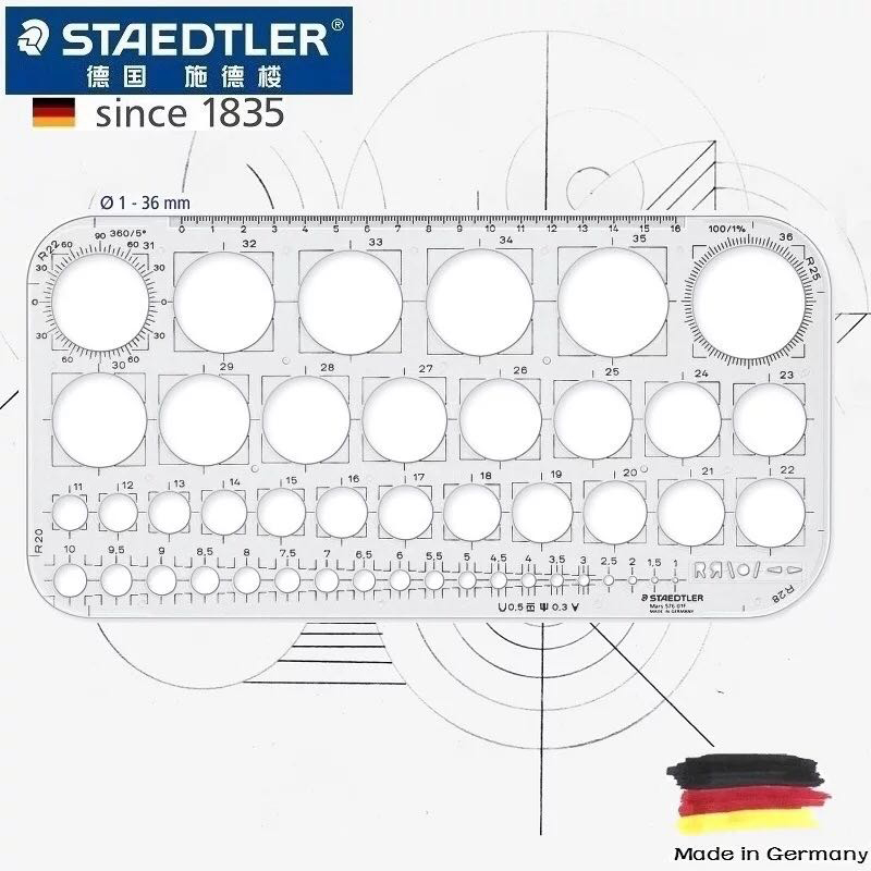 STAEDTLER 576 01F Drawing Circle Template Architectural Drawing Template Hand Drawing Circle Template Stationery