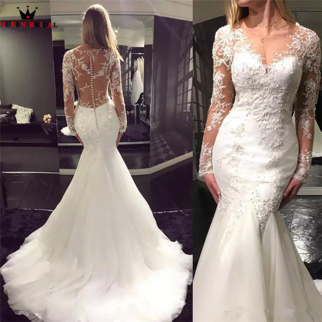 Vintage Long Sleeve Beaded Lace Sequins Mermaid Y Luxury Wedding Dresses Gown 2018 New Vestidos