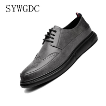 SYWGDC Leather Formal Men Dress Shoes Microfi Leather Shoes Lace Up Brogue Shoes Flats Oxfords For Men Wedding Office Business S goodyear handmade shoes men s formal wear business shoes leather men s shoes leather was settled