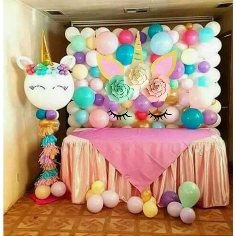 Unicorn Party Decorations Backdrop Large Horn Ears Eyelashes Flower Set Birthday Background Baby Shower Wall Decor Sticker In Stickers From Home