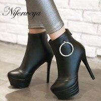 Sexy Ultra High 13 Cm Platform High Heels Fashion Round Toe Winter Women Shoes Big Size