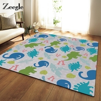 Zeegle Colorful Dinosaur Printed Large Size Home Rugs Childs Bedroom Carpet Non Slip Sofa Bedside Area