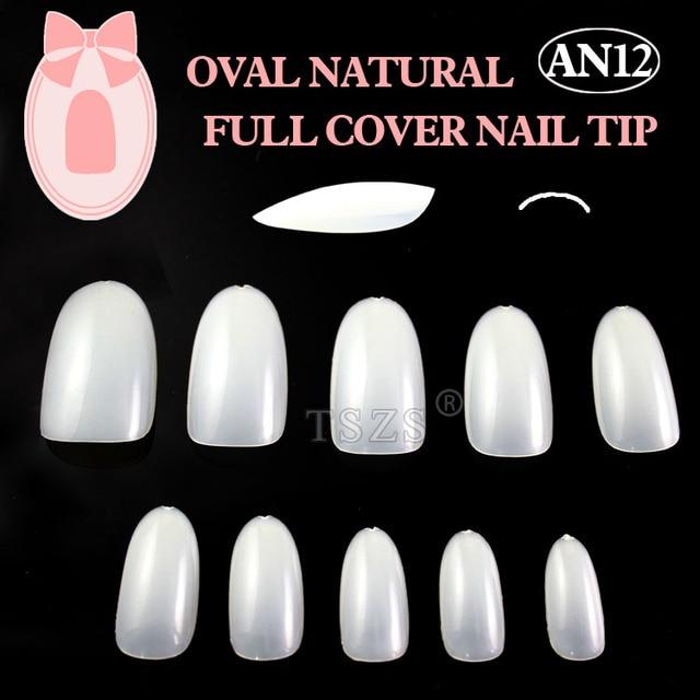 1bags/ lot -600pcs Oval Natural white nail art tips full cover acrylic nails