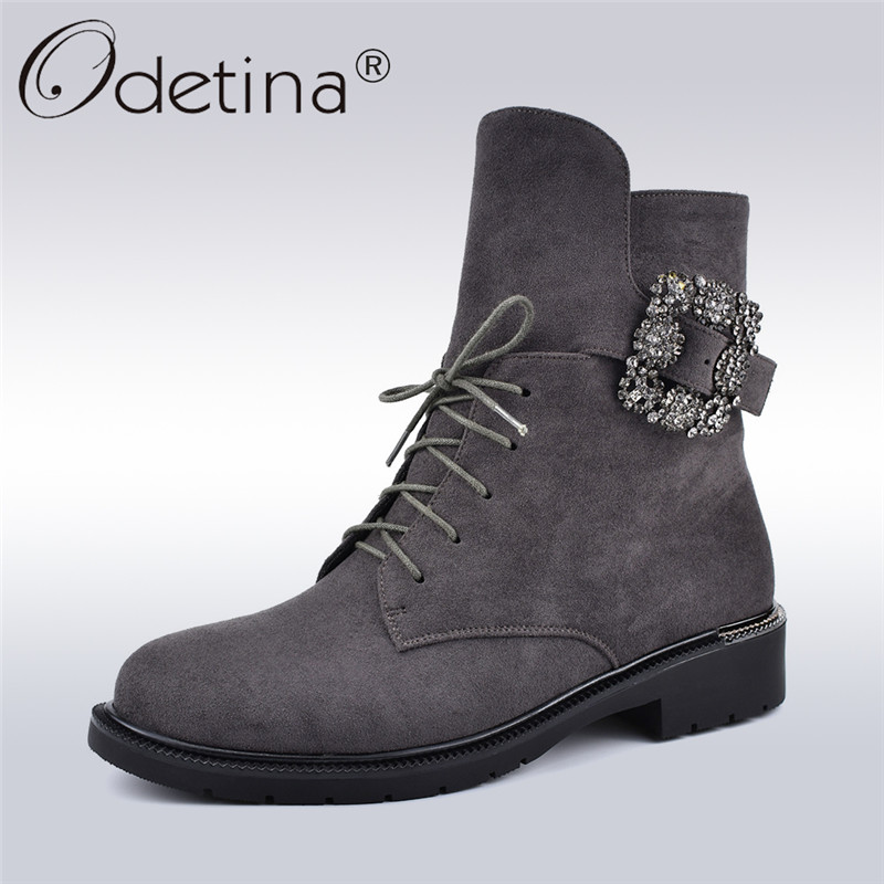 Odetina Autumn Winter New Fashion Crystal Buckle Women Boots Flock Leather Chunky Heels Side Zipper Lace Up Female Ankle Boots все цены