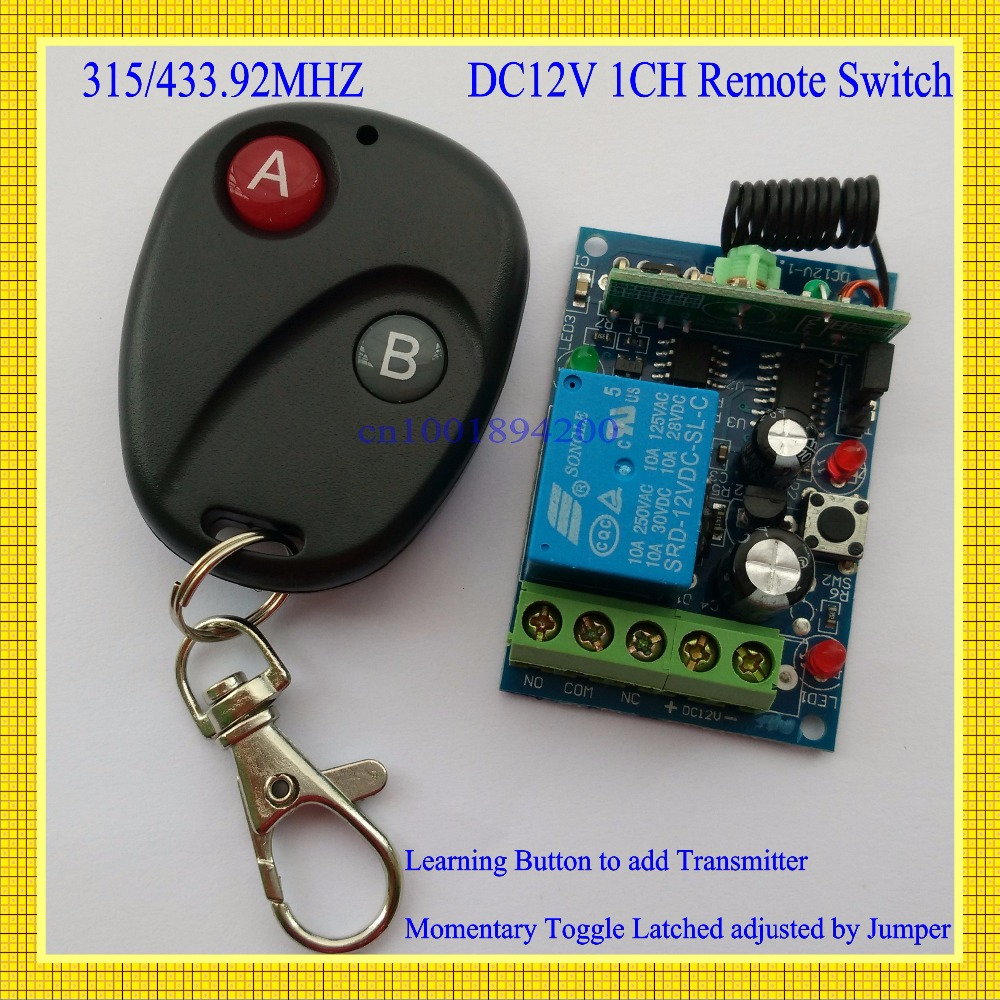 Access Door Control System 12V DC 1CH Remote Switch Receiver Transmitter 433.92/315MHZ Learning code Latched A ON B OFF LED long range remote control switch dc 12v 1 ch 10a relay 4 receiver 1 transmitter learning code 315 433 4204