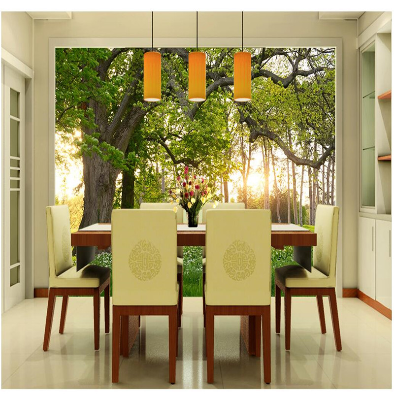 Customize Size Mural Wallpaper Background Trees Sunny Meadow Nature ...