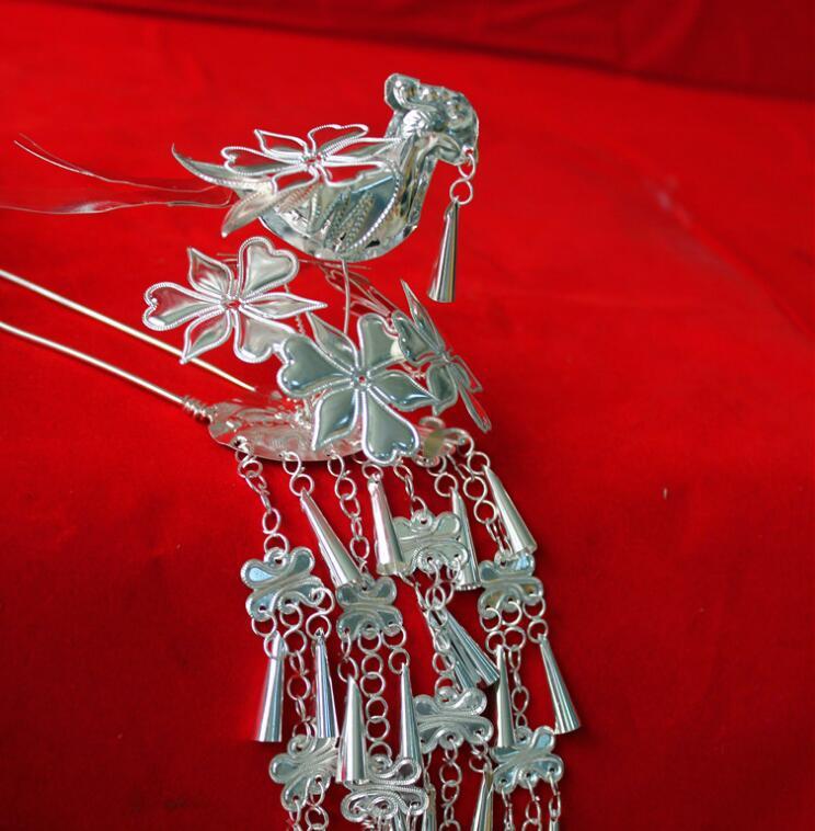 Miao Silverware Hair Accessories Handmade Headdress Hairpin