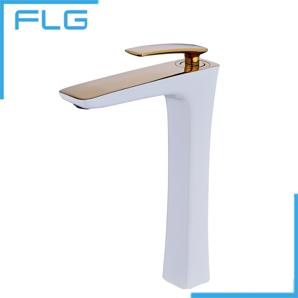 Gold Bathroom Faucets Wholesale - Free shipping soild brass white painting and gold bathroom faucet washbasin taucets tall tap grifo