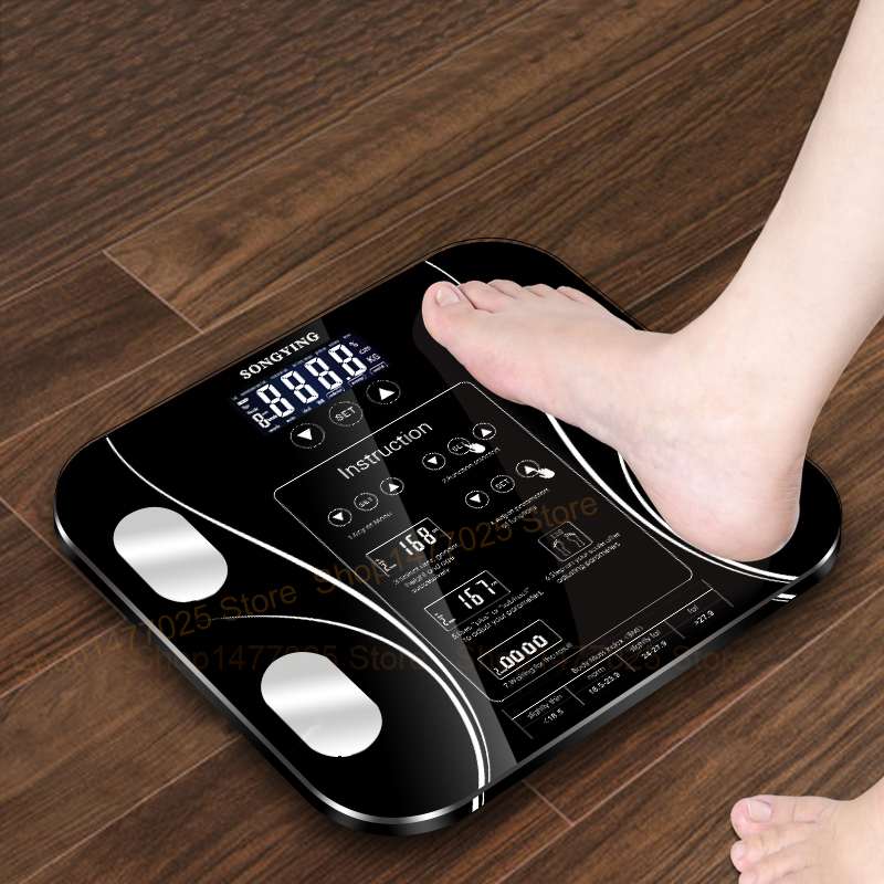 English Weighing Smart Bathroom Weight Scales Household Body Fat bmi Scale Digital Human Weighting Mi Scales Floor lcd Display gadget