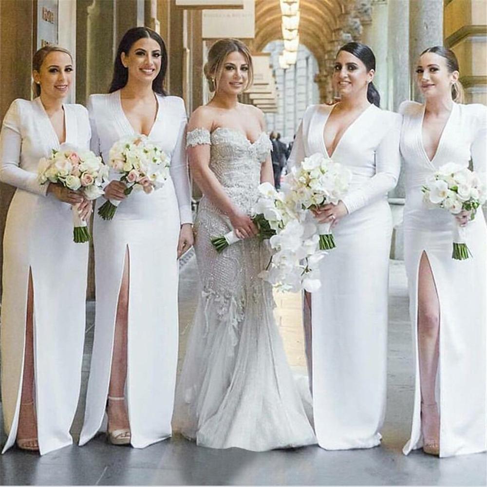 White Satin Bridesmaid Dresses V Neck Sheath Style High Split Long Sleeve Wedding Guest Dress 2019