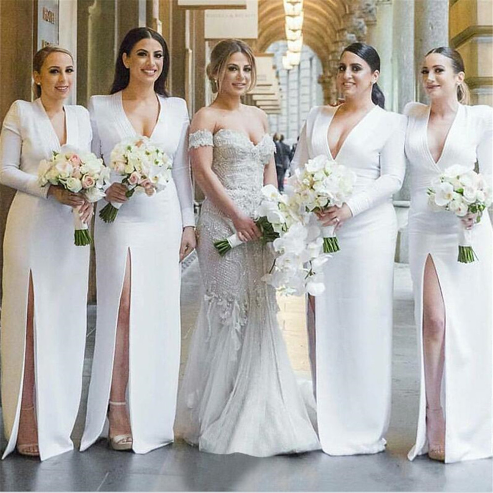 White Satin   Bridesmaid     Dresses   V Neck Sheath Style High Split Long Sleeve Wedding Guest   Dress   2019 High Quality Women Gown Cheap