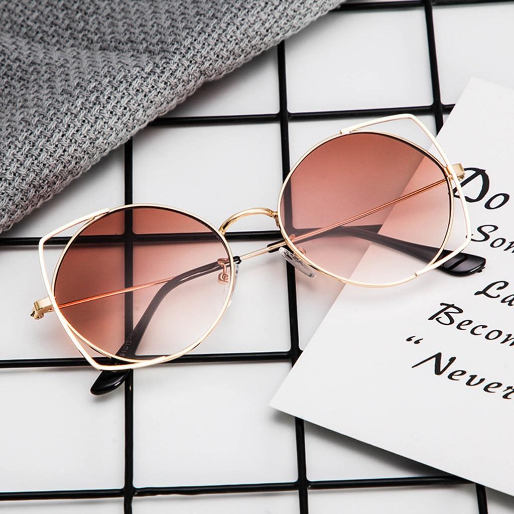 Cat Eye Mirrored Flat Lenses Metal Frame Sunglasses Sunglasses for Women