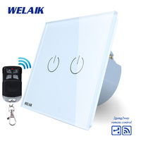 WELAIK Glass Panel Switch White Wall Switch EU Remote Control Touch Switch Screen Light Switch 2gang2way
