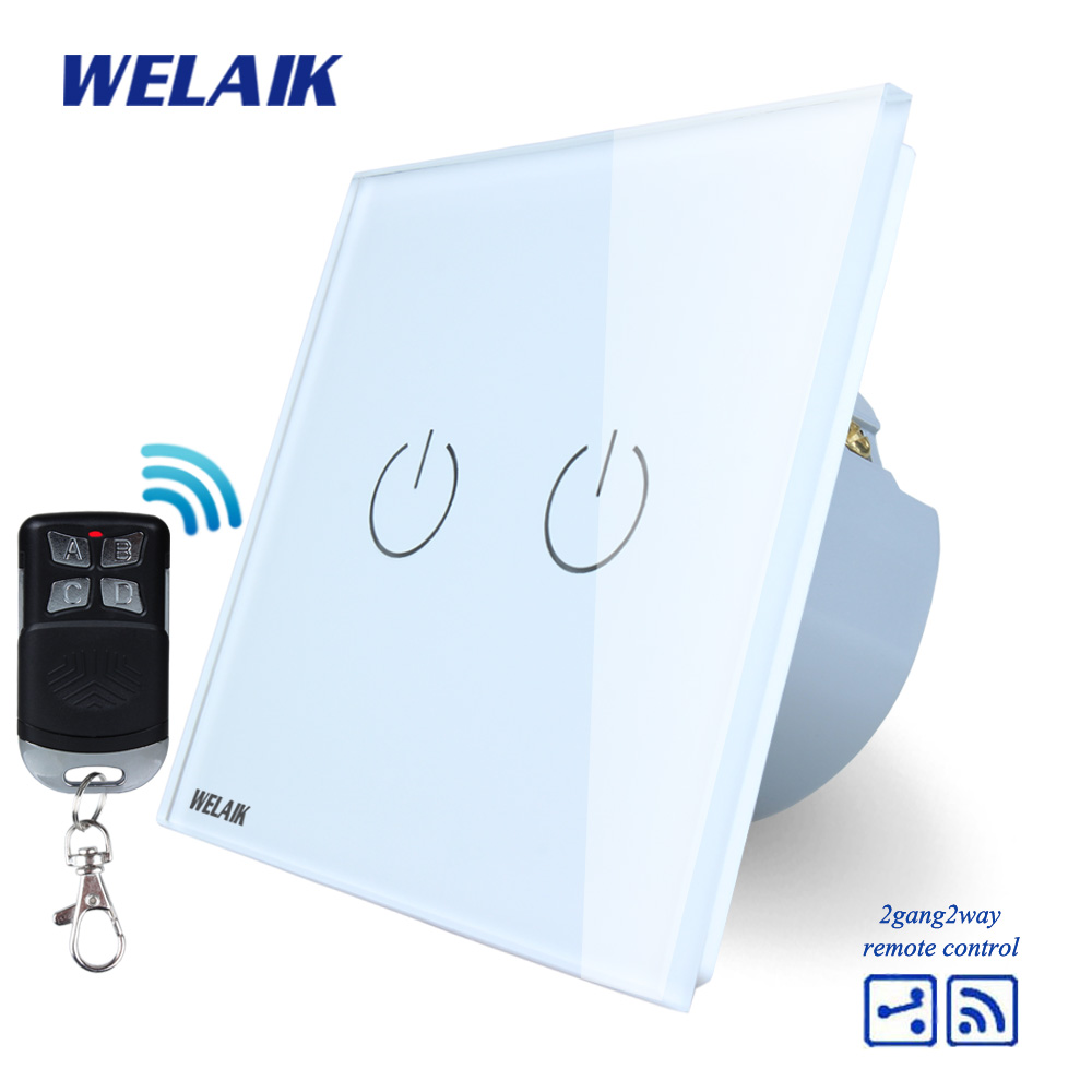 WELAIK Glass Panel Switch White Wall Switch EU remote control Touch Switch Screen Light Switch 2gang2way AC110~250V A1924W/BR01 mvava 3 gang 1 way eu white crystal glass panel wall touch switch wireless remote touch screen light switch with led indicator