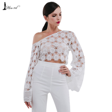 Missord 2016 Sexy oblique horn sleeve lace stitching tops FT4750
