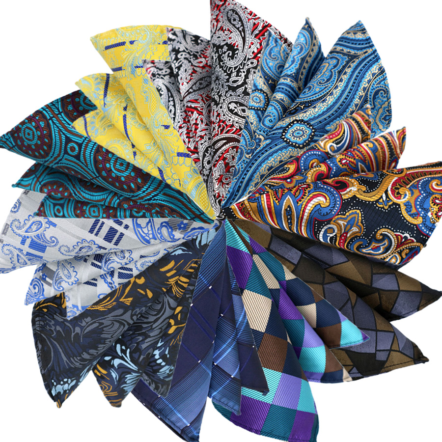 Luxury 25CM Mens Pocket Square Handkerchief Floral Dot Hanky Men Suit Chest Towel Accessories For Business Wedding Party Gift