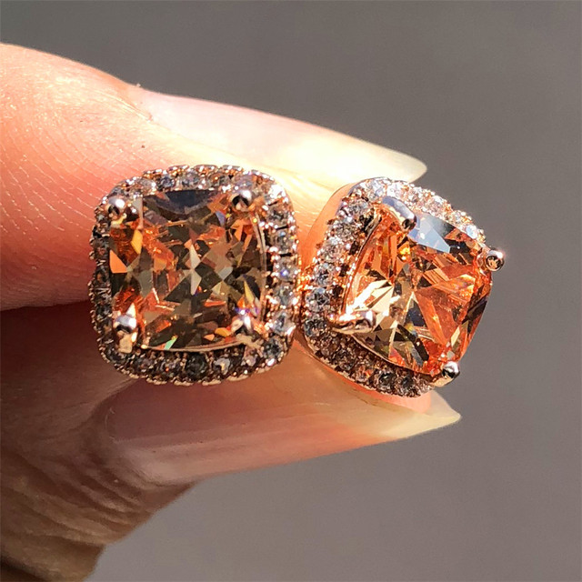 Luxo feminino cristal zircon pedra brincos moda prata cor jóias vintage duplo parafuso prisioneiro brincos para mulher 2