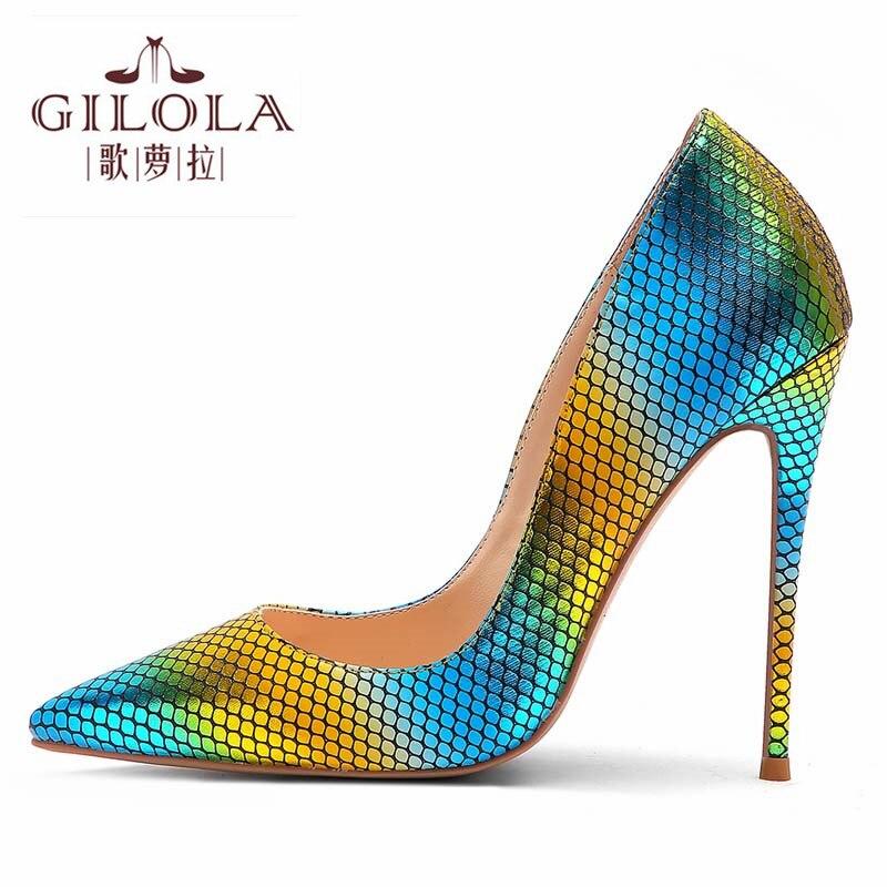forme Talons Chaussures Pointu Serpent Femme Bleu Femmes Plate Jaune RougeY0313570q Bout Mode Motif Pour Mince Hauts Pompes Cm Sexy 12 De OTZPkuXi