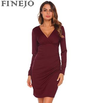FINEJO Pencil Dress Women Autumn 2018 Bodycon Fashion Ruched Solid Slim V-Neck Long Sleeve New Fashion Feminina Vestidos