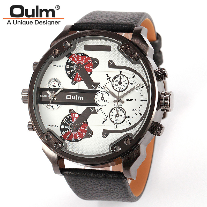 Top OULM Watch Men Quartz Leather Military Sports Wristwatch Multiple Time Zone Fashion watches Analog Male Relogio Masculino pura брюки