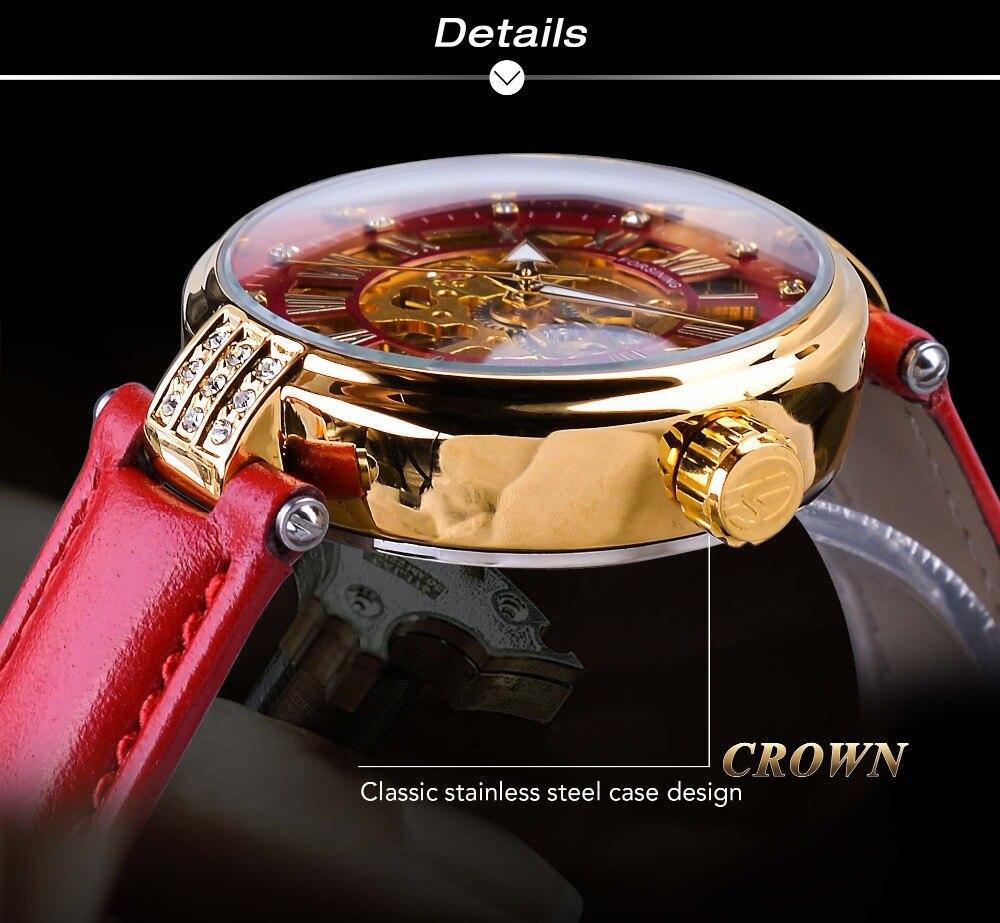 Relógio de Ouro Esqueleto Design Diamante Vermelho