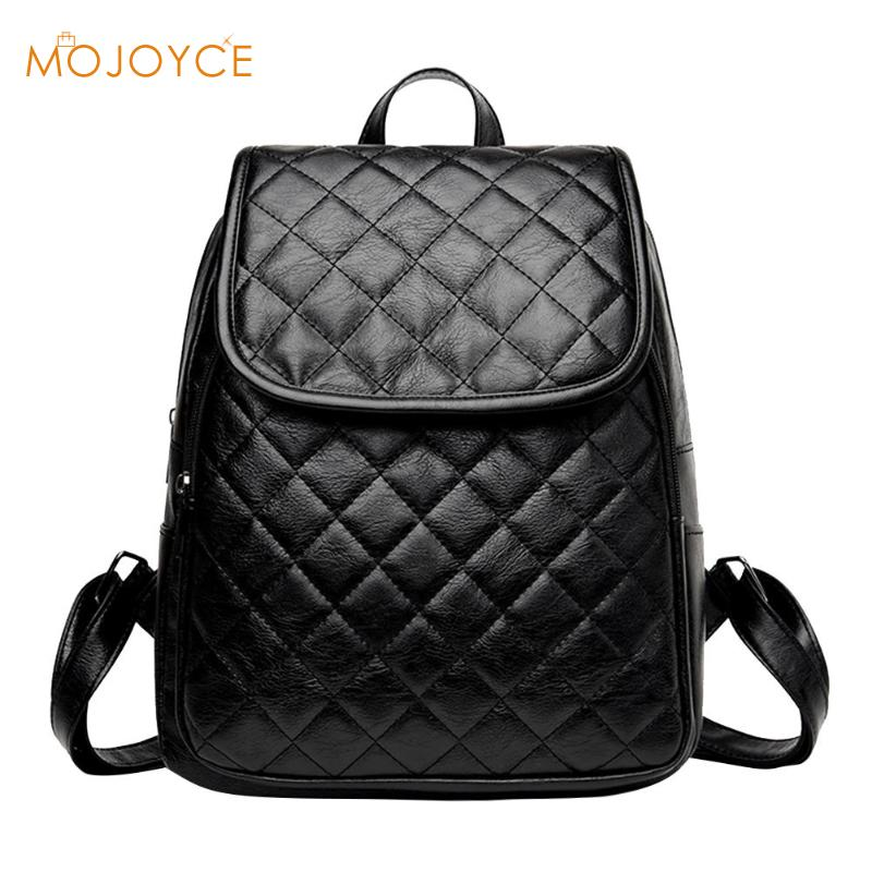 Women Zipper Plaid Pu Leather Backpacks Casual Teenage Girls School Travel Shoulder Bags Classic Casual Backpack Mochila